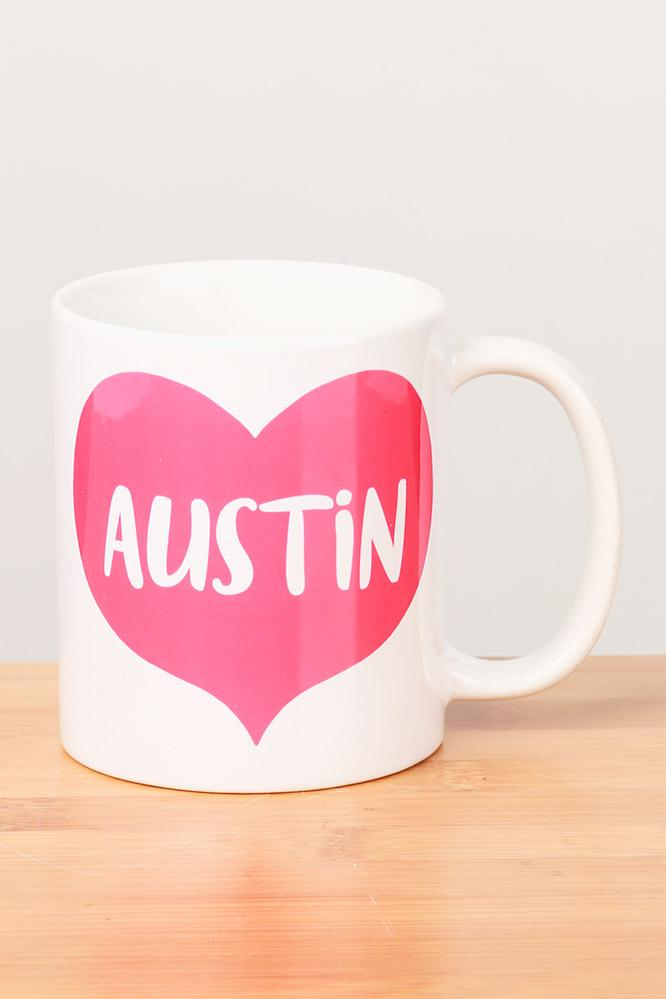 Austin Love Big Heart Ceramic Mug