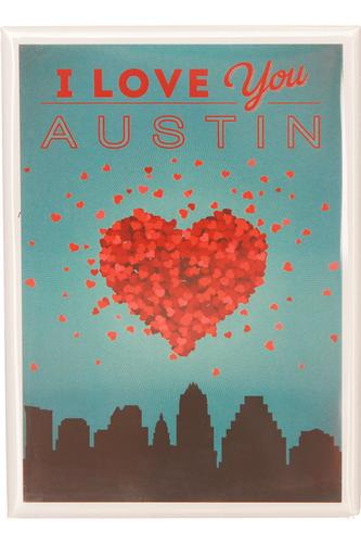 I Love You Austin - Skyline Rectangular Magnet