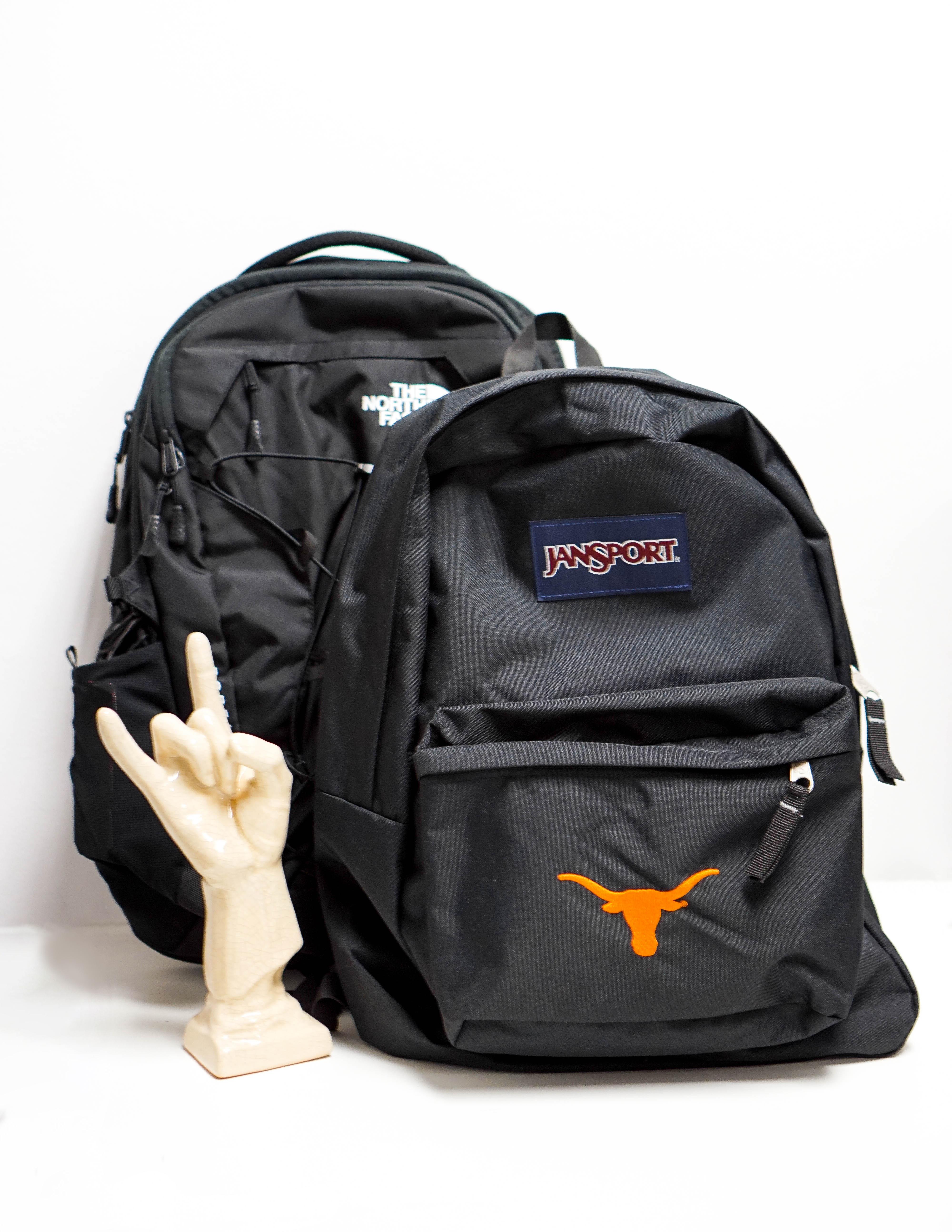 Two Backpacks On Desk