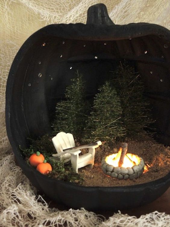 diy black pumpkin diorama