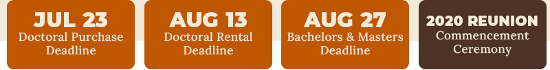 July 23 - Doctoral Purchase Deadline, August 13 - Doctoral Rental Deadline, August 27 - Bachelors and Masters Deadline.