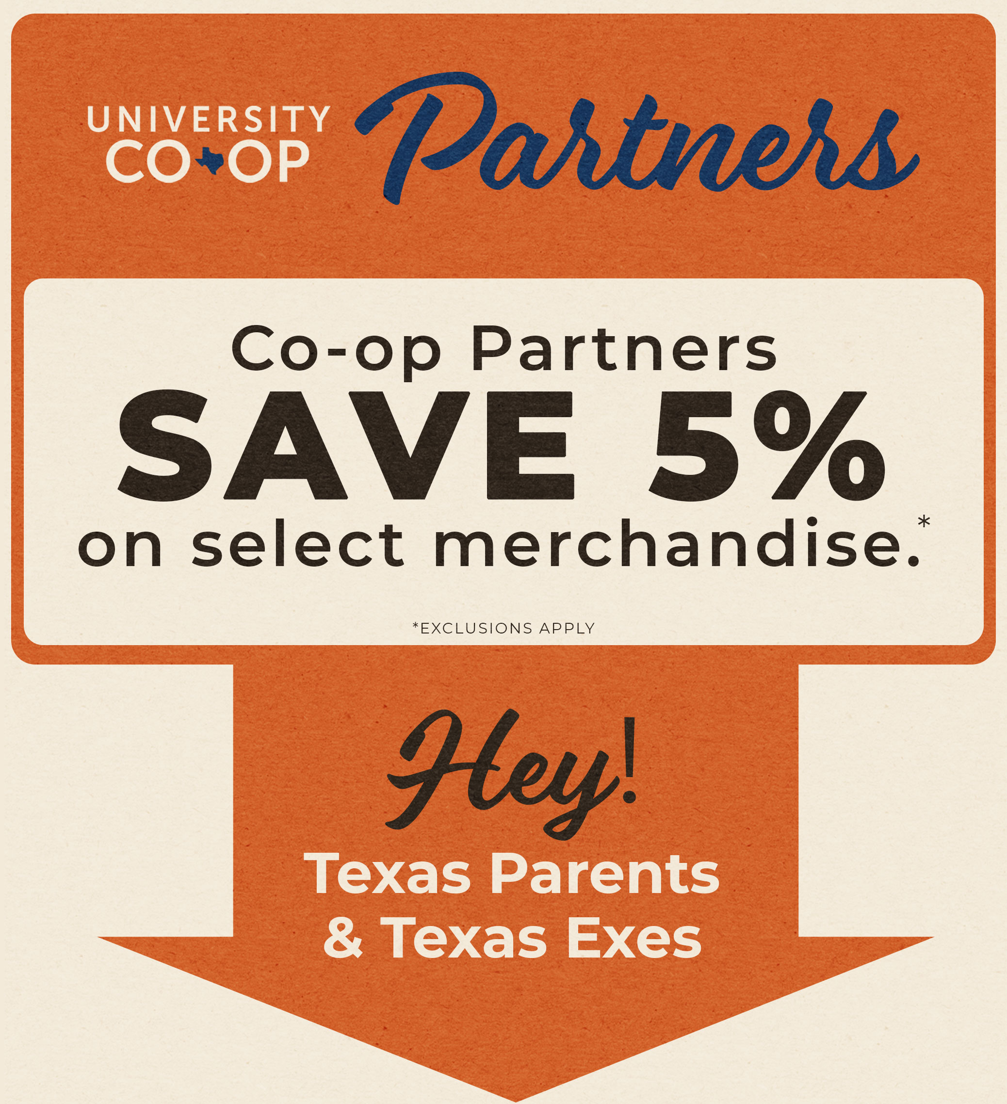 Co-op Partners save 5% on select merchandise!