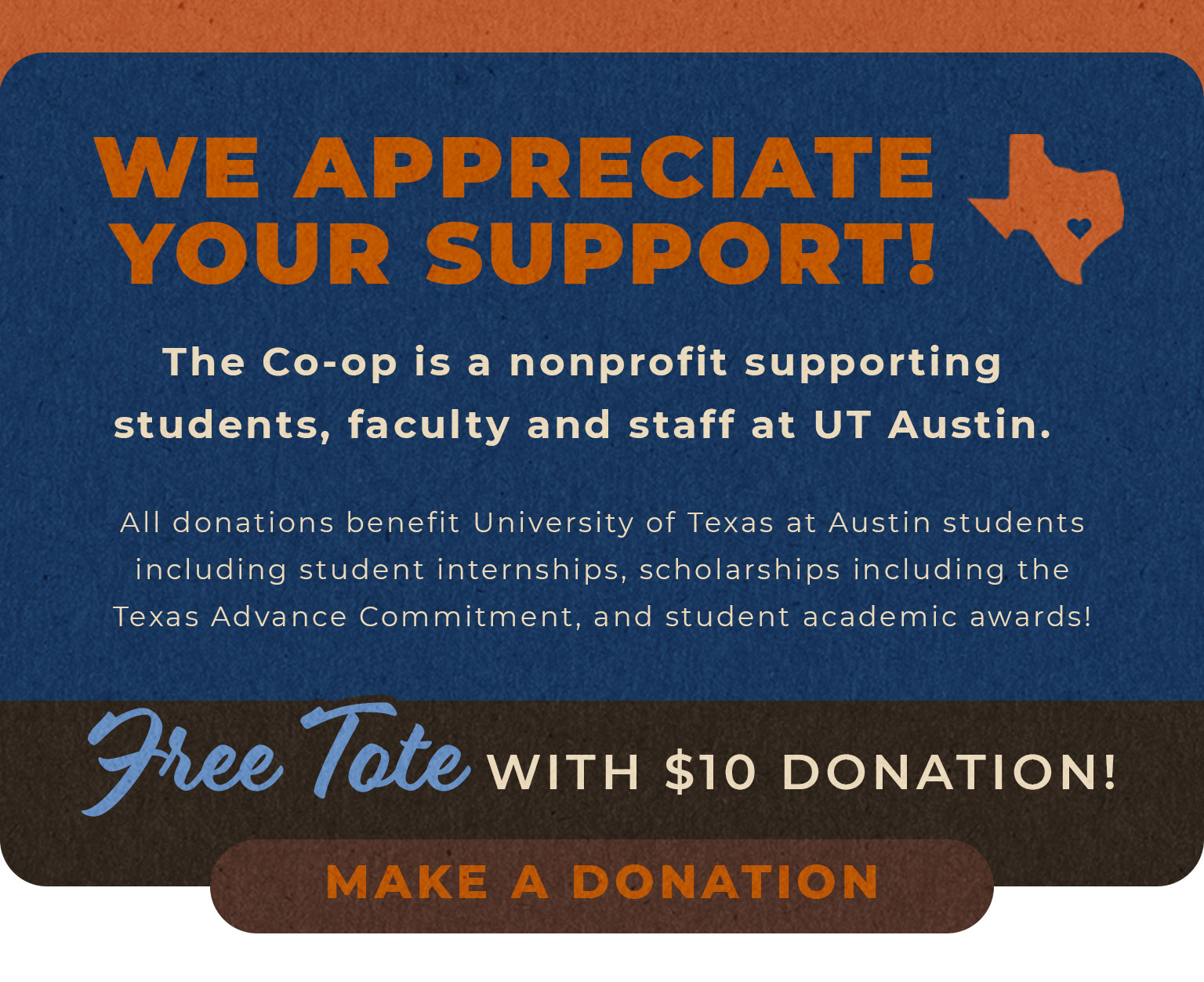 We appreciate your support! Make a Donation